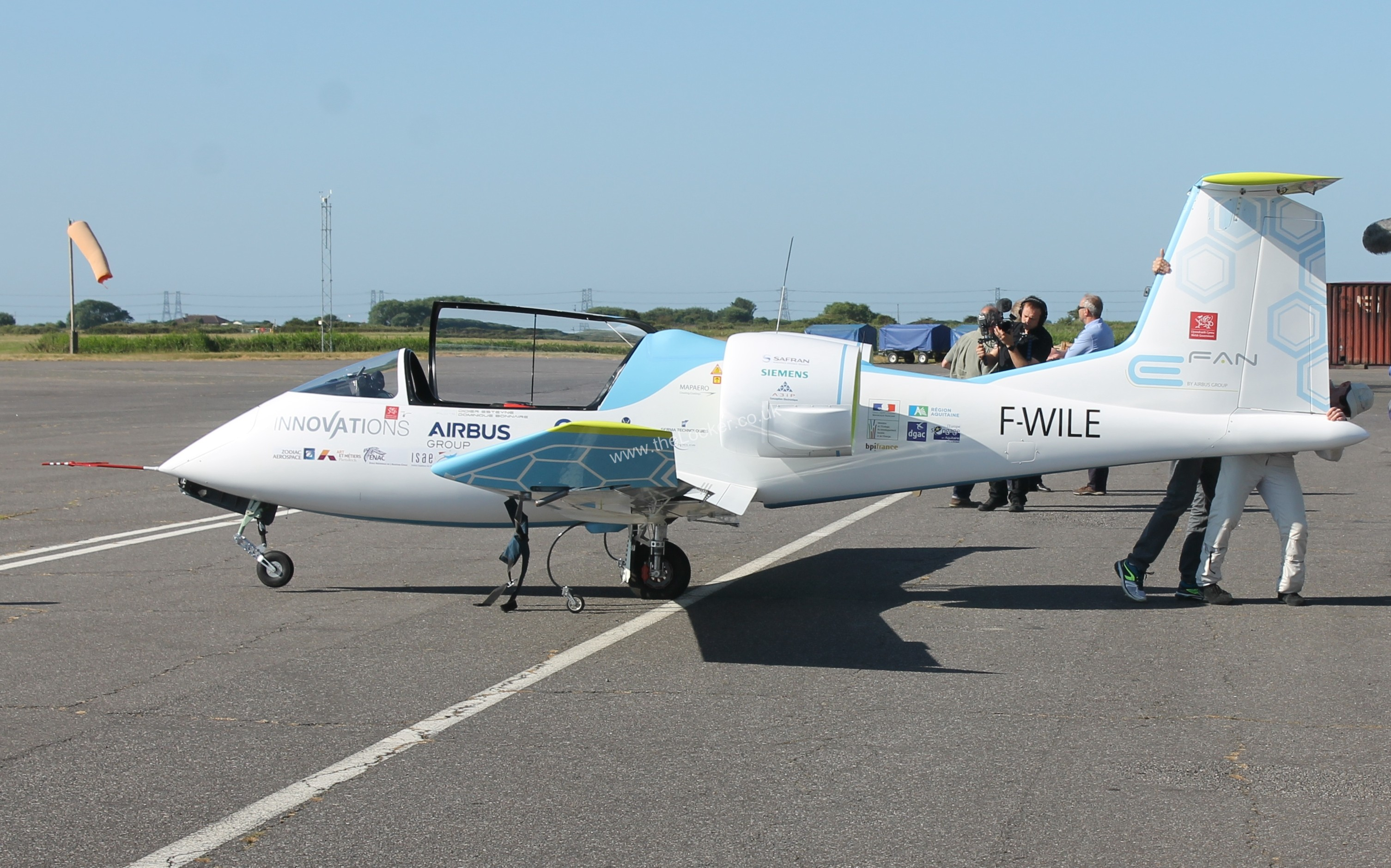 New Electric Airbus takes to the skies above Lydd in Historic Channel crossing