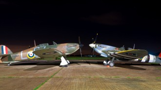Hurricane and Spitfire ready for today's flight