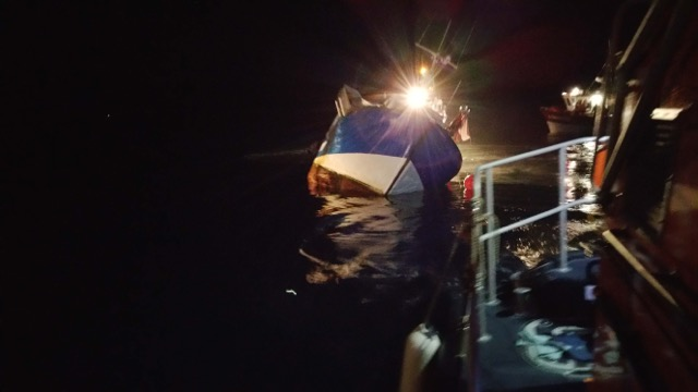 french fishing boat starting to sink picture by RNLI Crew member Rod Bradnam