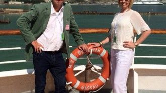 Annabel Clare and David Wimble enjoy Lunch onboard the Braemar