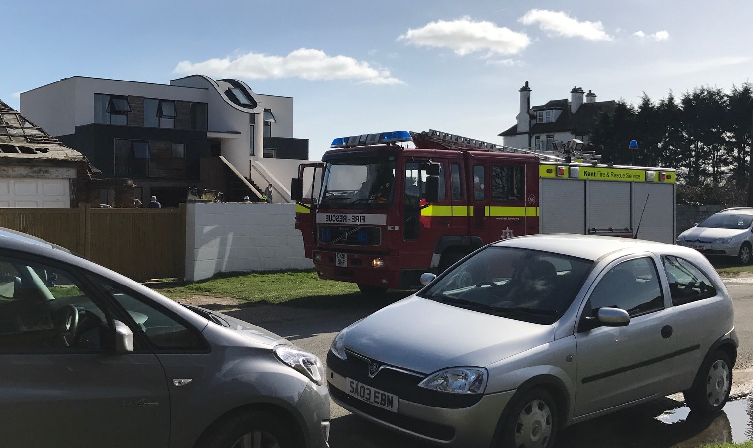 Lucky escape as trailer goes up in flames