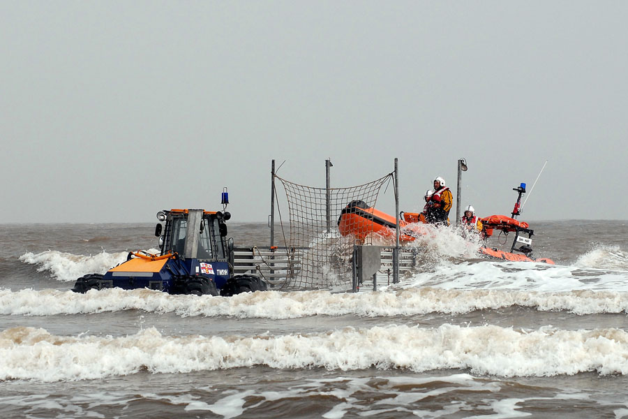Littlestone Lifeboat plays its part in bring sick casualty ashore.
