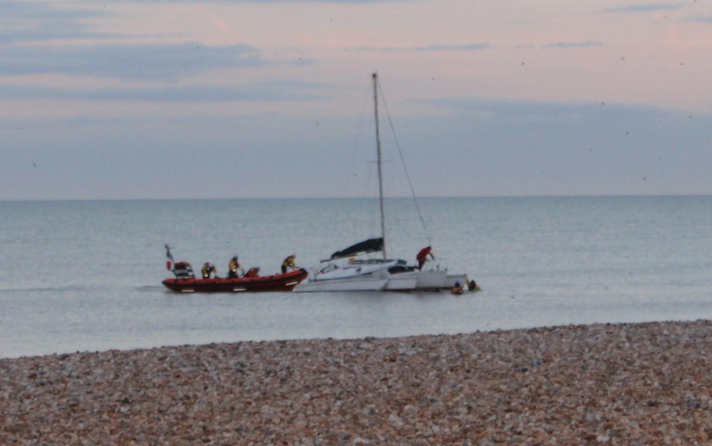 Littlestone Lifeboat aids sinking yacht